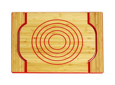 Лоток бамбуковая Free Form с местом на горячий сосуд красный