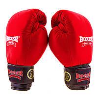 Перчатки боксерские кожа Profi (ФБУ,Boxer) 12 oz красные BX03812-12R