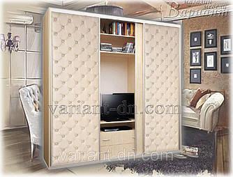 Шкаф-купе с ТВ нишей и мягкими дверями 3-х дверный