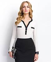 Стильная женская блуза светло-бежевого цвета из вискозы с длинным рукавом. Модель Р41 Sunwear, осень-зима 2015