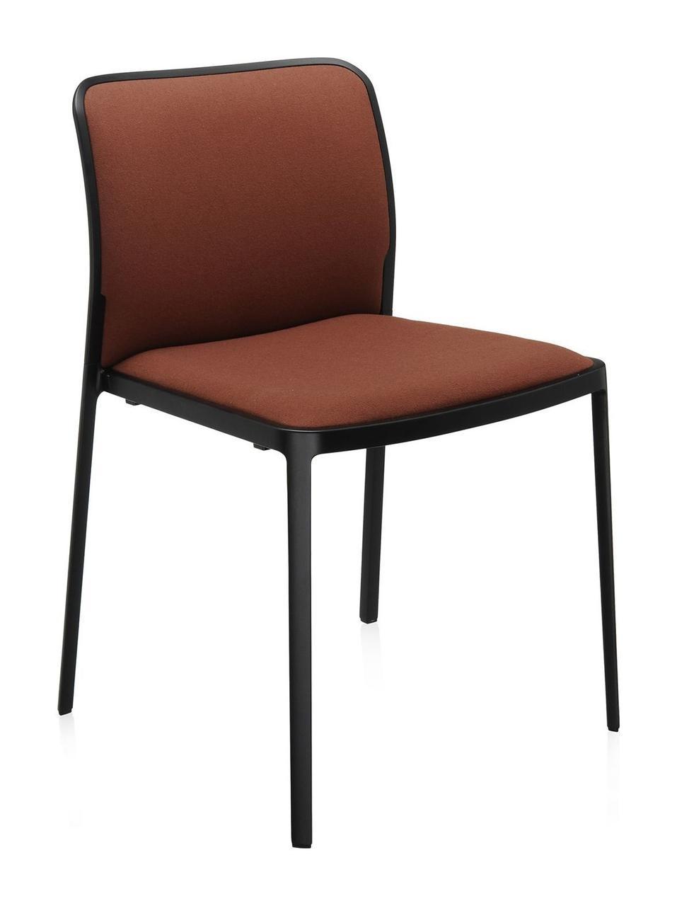 Стул Audrey черная рама с обивкой сиденье Kvadrat коричневые