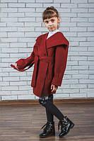 Пальто из кашемира для девочки  бордо