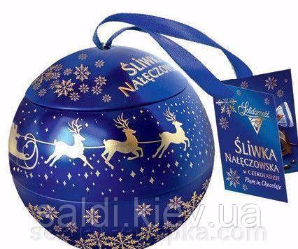 Шоколадные конфеты Sliwka Naleczowska Goplana в елочном шаре (слива в шоколаде) 190 грамм