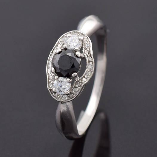 """Серебряное кольцо """"Монро"""", размер 17.5, вес серебра 2.1 г, чёрный фианит"""