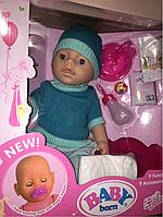 Пупс Baby Born Мальчик синяя вязаная одежда