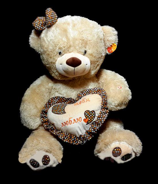 Плюшевый Медведь 55 см с сердцем прекрасный подарок любимой девушке игрушка мягкая