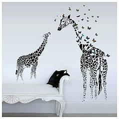 "Наклейка на стену, наклейка цветок, наклейки на шкаф ""два жирафа"" 1м30см*1м*15см (лист 60*90см)"