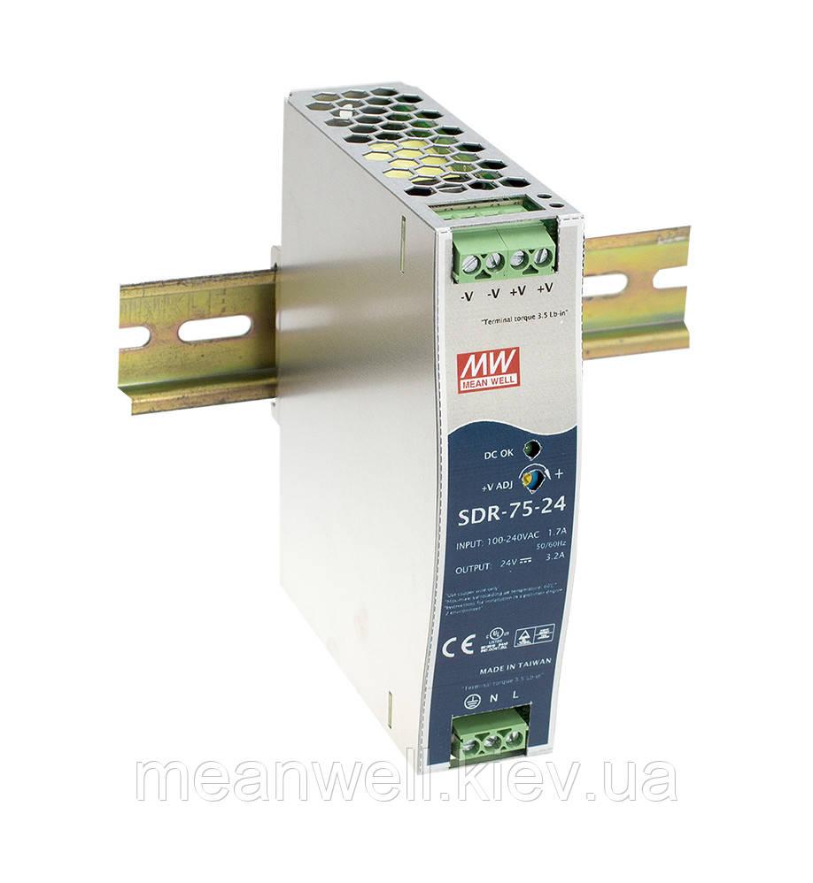 SDR-75-24 Блок питания на Din-рейку Mean Well 76,8вт, 24в, 3,2А