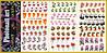 Наклейки для ногтей PhotonailArt Водные разноцветные, Большая тройная пластина, Angevi S S 001-002-003
