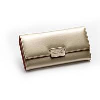 Женский кошелек портмоне золотистый тройного сложения из экокожи на кнопке опт, фото 1