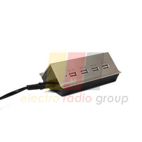 СЗУ Remax Gold House RU-U2 4.2A 4*USB gold-black 220V евровилка (EN) black-gold