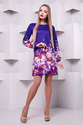 GLEM Фиолетовый букет платье Тана-1Ф (креп) д/р