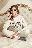 Домашній костюм піжама - Бежева з совами