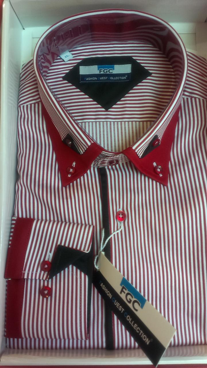 Чоловіча сорочка FGC приталені спортивна DIAMOND червона