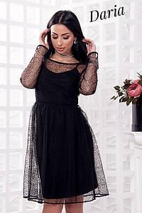 Стильное платье на тонких бретелях с накидкой изсетки, женские праздничные платья оптом