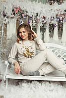 Домашній костюм піжама - Бежева з золотою балериною
