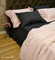 "Комплект из 100% льна с рюшами ""French Vintage Pink-Gray"""