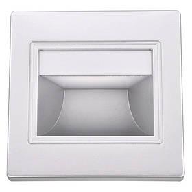 Светодиодный стеновой встраиваемый cветильник Feron JD12 2W 4000K квадрат серебро IP20 Код.59161