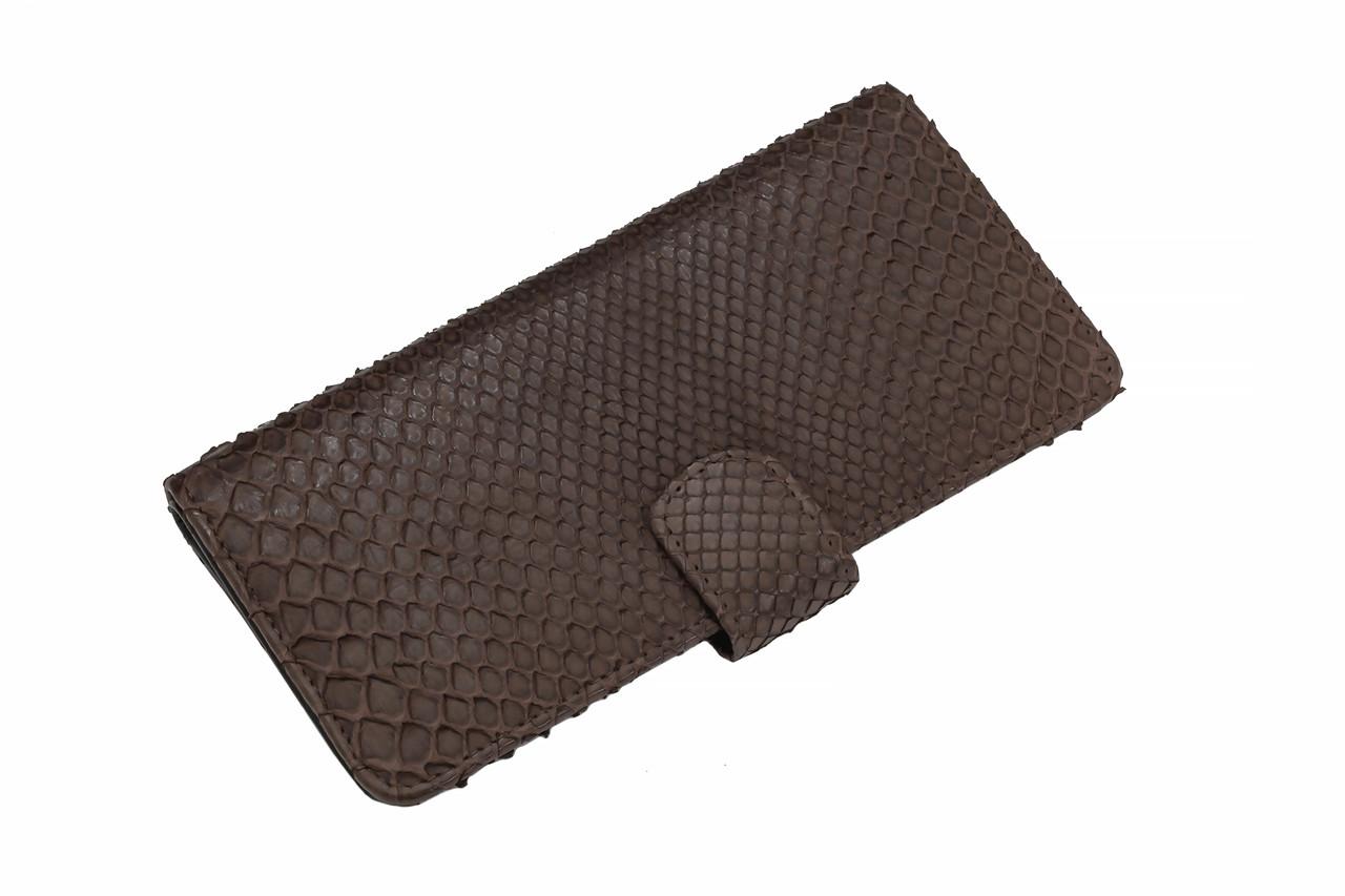Вертикальное портмоне из питоновой кожи  Ekzotic Leather Коричневый (snw 24)