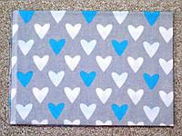 "Пеленка фланелевая  ""Голубое сердце"", размер 100х80 см"