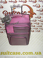 Чемодан на двух колесах Three birds фиолетовый - Цельна ручка (маленький)