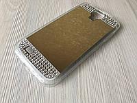 Зеркальный золотой силиконовый чехол с стразами для Samsung S4 i-9500, фото 1