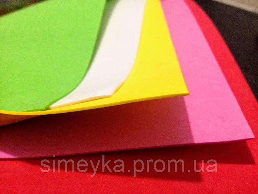 Фоамиран листовой, упаковка 5 листов 60*40 см разного цвета, толщина 1 мм