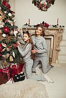 Домашній костюм піжама - Сірий меланж зі срібною балериною