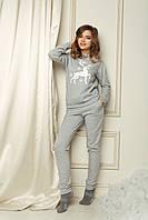 Домашній костюм піжама - Сірий меланж з оленем