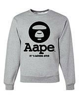 Свитшот серый принт A Bathing Ape | Кофта стильная