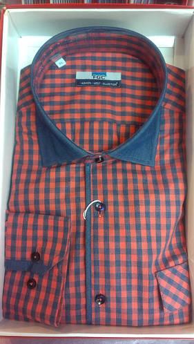 Стильная Мужская рубашка FGC приталенная спортивная клетка
