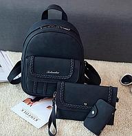 Рюкзак женский из кожзама набор клатч через плечо и визитница Belladona, фото 1