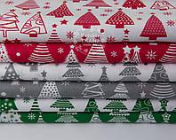 Набор новогодних тканей с ёлками разной формы  из 6 штук зелёного, красного и серого цвета (50*50)