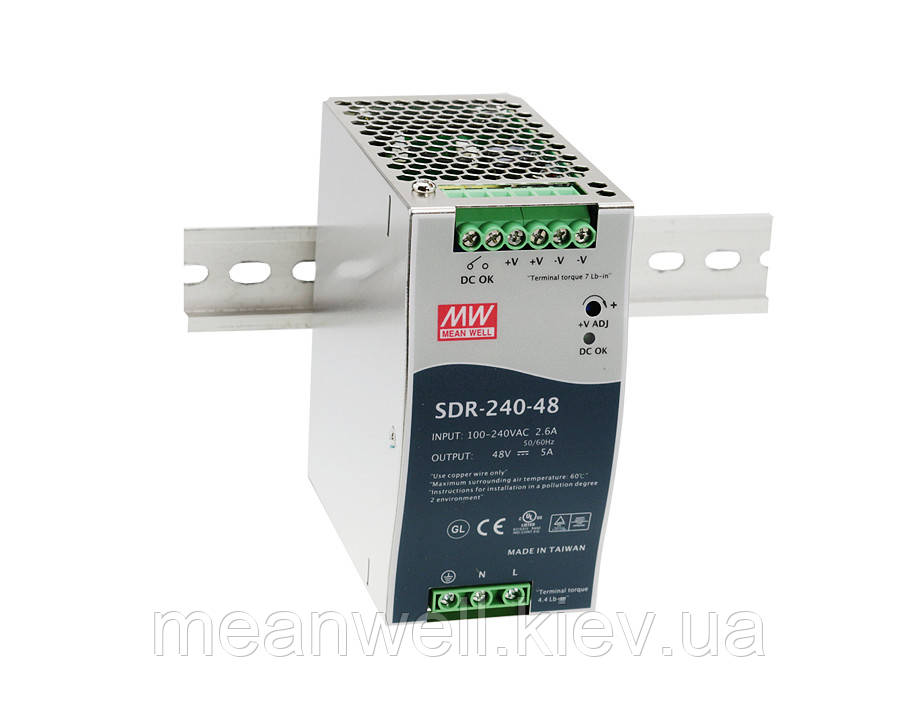SDR-240-48 Блок питания на Din-рейку Mean Well 240вт, 48В, 5A