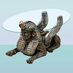 Журнальный стеклянный стол со скульптурой, кофейный столик Сфинкс