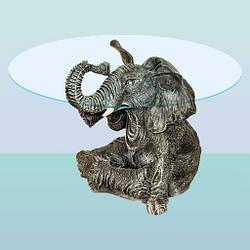 Журнальный стеклянный стол со скульптурой, кофейный столик Слон