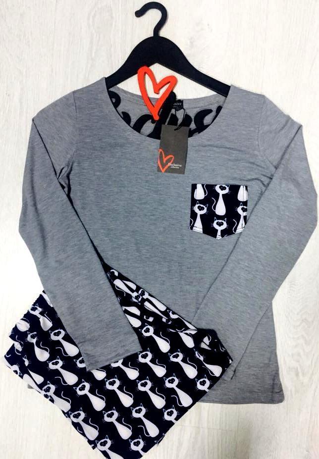 Пижама молодежная модная, штаны с футболкой