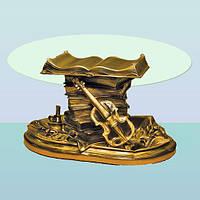 Журнальный стеклянный стол, овальный кофейный столик Скрипка