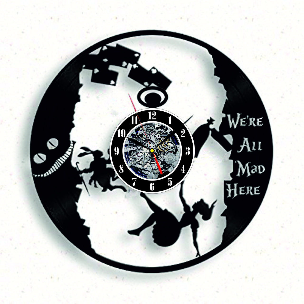 Настенные часы из виниловых пластинок LikeMark Alice in Wonderland