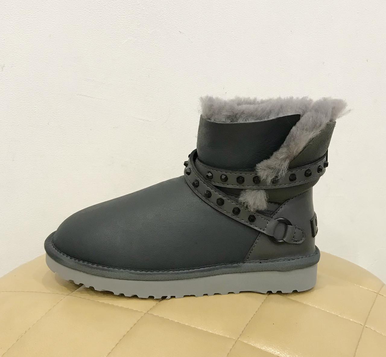 UGG Australia Emersen Grey Серые кожаные угги c ременцами