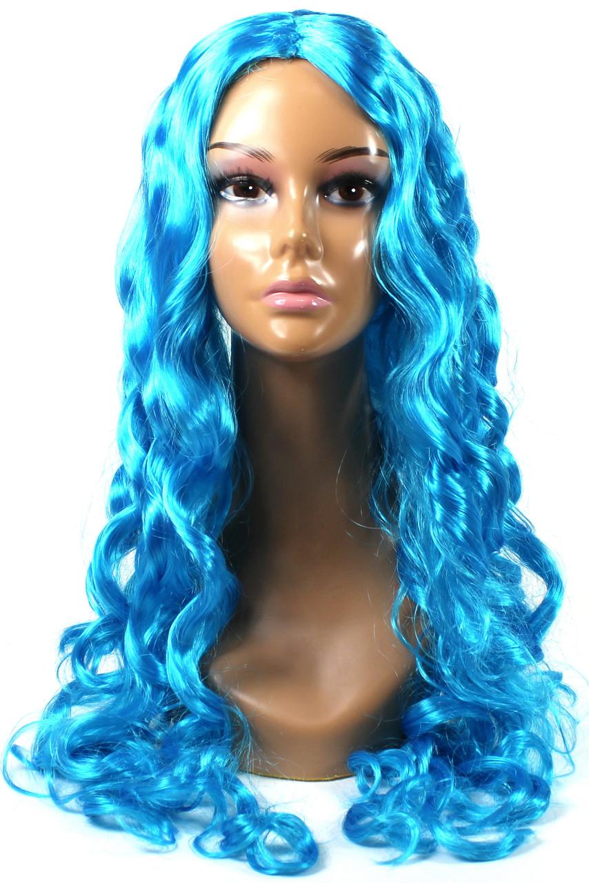 Парик Мальвины карнавальный волнистый ярко-голубой