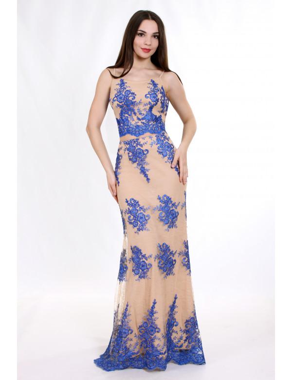 Женское вечернее платье ENIGMA MKENG0829 электрик макси в пол