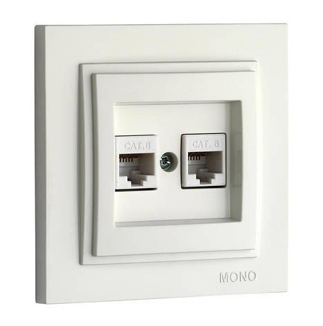 Розетка компьютерная двойная Despina Mono Electric белый, фото 2