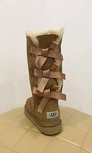 Высокие ореховые женские замшевые угги с тремя бантами UGG® Australia BAILEY BOW TALL