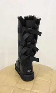 Высокие черные женские кожаные угги с тремя бантами UGG® Australia BAILEY BOW TALL