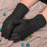 Женские сенсорные перчатки черного цвета на меху с вязаными митенками Paidi 76-2 01-black 8,5