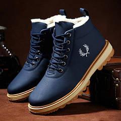 Зимние ботинки мужские темно синие на овчине