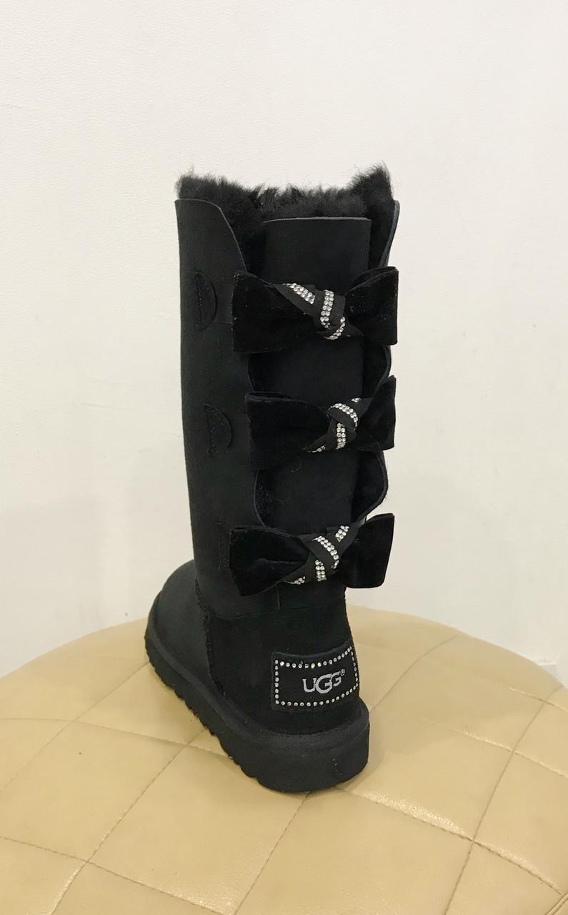 Высокие черные женские замшевые угги с тремя бантами UGG® Australia Bailey Bow Tall