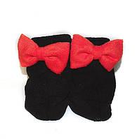 Тапочки Бантики черные с красным бантом флис р-р 34-43