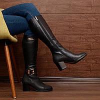 7134.1  (37; 39; 40) Женские сапоги-зимние на устойчевом каблуке из натуральной кожи